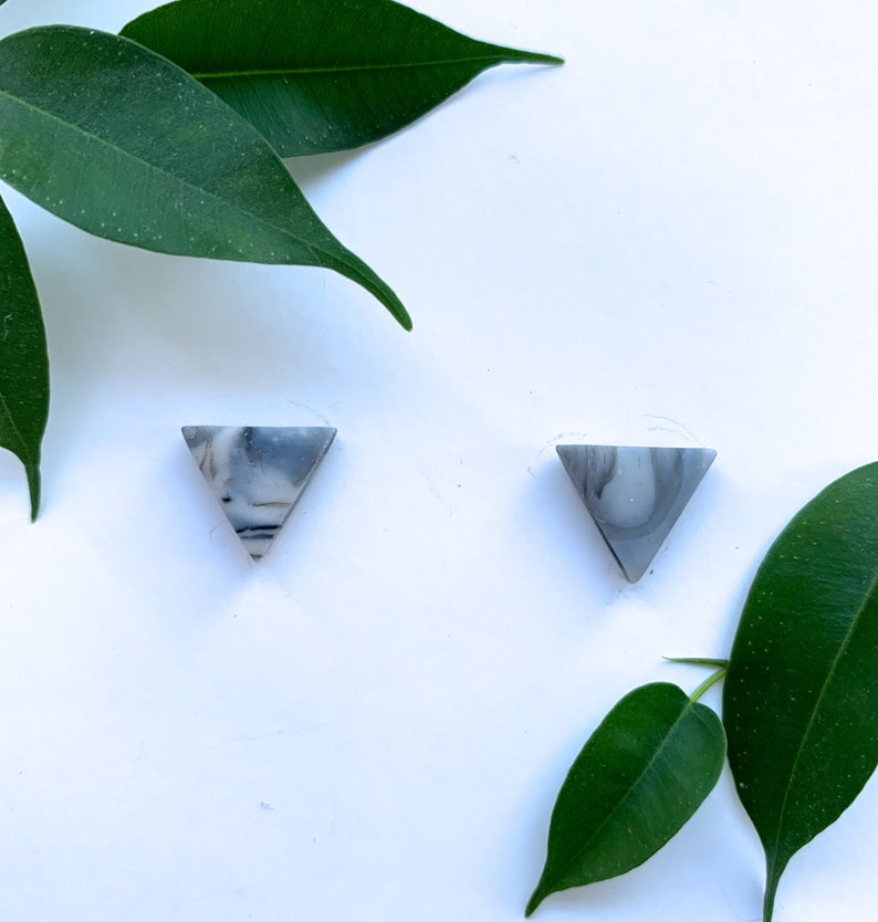 Statement EarringsMonochromaticGeometricGift for hergirlfriendwomanfriendme Hand-Made Crystal Marble Polymer Clay Studs