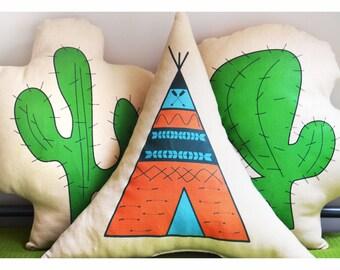 Tipi pillow, Teepee pillow, Teepee nursery, teepee cushion, orange tipi, baby nursery pillow