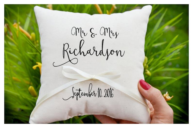 Mr & Mrs pillow Personalized Ring bearer pillow Wedding ring image 0
