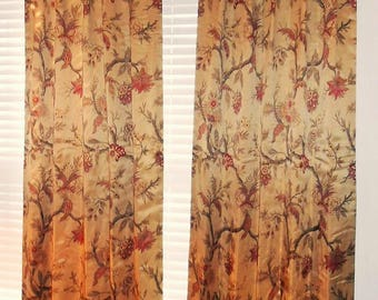 Pair Of Custom Drapes Printed Floral Design Tree Life Pattern Richloom Cotton Polyester Fabric Pleated Top New Curtains