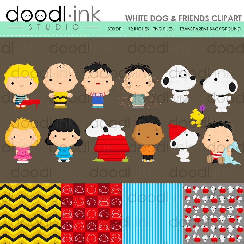 SALE 50% !!! White Dog & Friends Digital Clipart / Cute Peanuts Movie Clip  Art / Digital Paper For Personal Use / INSTANT DOWNLOAD