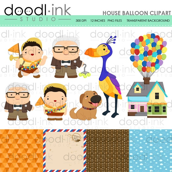 sale 50 house balloon movie digital clipart flying etsy