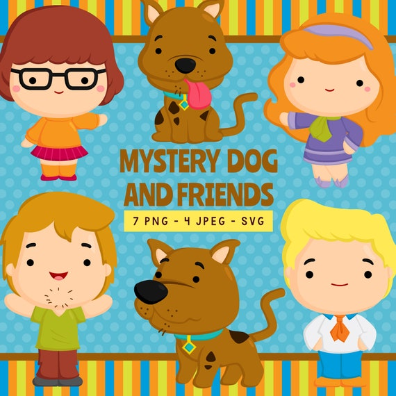 Mystery Dog Friends Digital Clipart Haunted Horror Cartoon Etsy