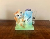Vintage retro egg timer made in japan tall kitty kitten cat squirrel chipmunk kitsch ceramic