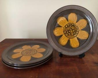Set of 4 retro side plates stoneware japan