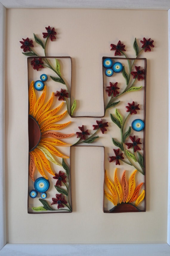 Paper Quilled Monogram Letter H Gift Idea Quilled Letter