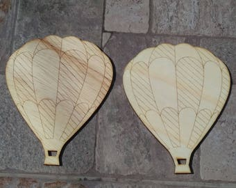 2 Hot air balloons/ wooden hot air balloons/ laser cut hot air balloons
