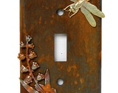 Rustic single toggle light switchplate cover with dragonfly and flowers charms in iron, rust and brass