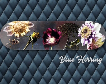 Skateboard Wall Art, Floral skate deck, Flower Poster, Girls Room Decor for Walls, Bedroom print set of 3, Romantic Gifts, Dark Backgrounds