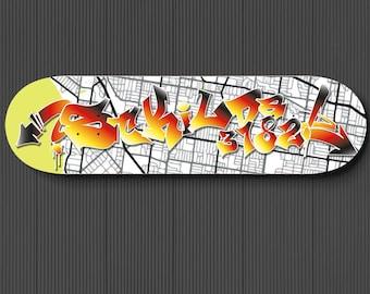 StKida Graffiti Skateboard Deck, Graffiti Street Art Font, St Kilda Map Print, Spray Paint Wall Art, Custom gift for boyfriend, Travel Decor