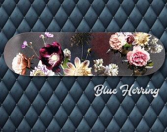Flower skateboard, Floral Skate Deck, Skateboard Wall Art, moody vintage art print, Girls Room, renaissance wedding, romantic gifts for her