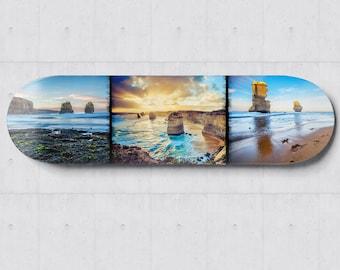 Twelve Apostles, Skateboard Wall Art, Great Ocean Road, Australia Photography, SkateBoard Deck Decor, Coastal Prints, Travel Gift for him