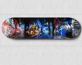 Graffiti Skateboard, Street Art Skatedeck Wall Art, Melbourne Hosier Lane Photograph, Apartment Lounge Art, Wall Decor Special Gift for Him