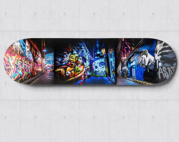 Featured listing image: Graffiti Skateboard, Street Art Skatedeck Wall Art, Melbourne Hosier Lane Photograph, Apartment Lounge Art, Wall Decor Special Gift for Him