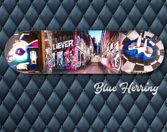 Skateboard Wall Art, Alice in Wonderland Decor, White Rabbit, Graffiti Gift, Street Art Canvas, Melbourne Print, Boy Girl Room Decor, Deck