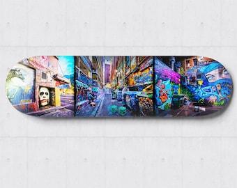 Skateboard Wall Art, Street Art Graffiti, Melbourne Photograph, Boys Room Decor, Skateboard deck, Apartment Warming Travel Gift, Hosier Lane