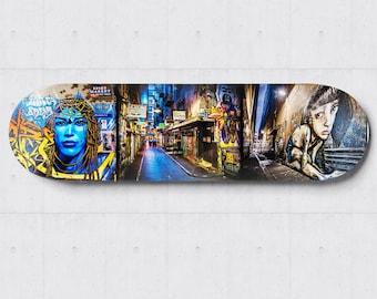 Street Art Graffiti, Skateboard Wall Art, Melbourne Photograph, industrial decor, girl face, Apartment Decor, Birthday Gifts for boyfriend