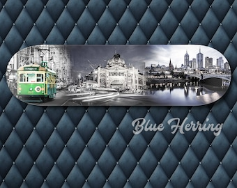 Melbourne Travel Print, Skateboard Fathers Day, Wall Hanging Decor, Train Station, Tram Painting, Black and White Wall Art, Birthday Gift