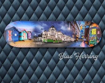 Skateboard Wall Art, Melbourne Australia, Skater Decor, Teen Boy Birthday Gift, Street Art Graffiti, Train Station, Brighton Beach, Travel