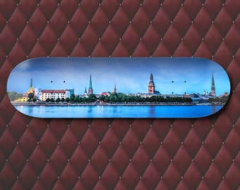 Riga Skyline, Skateboard Deck Art, Latvia Wall Art, Baltic Sea, panoramic photo, Photography Print, teen boy gift ideas, Latvian decor