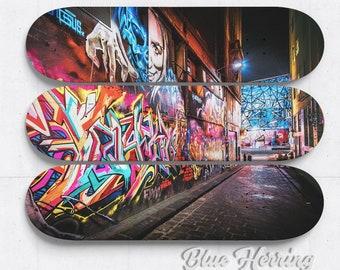 Skateboard Art, Set of 3 wall art trio, graffiti artwork, street art print, Melbourne Australia, teen room decor, boyfriend birthday gift