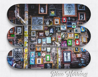 Graffiti Artwork, Street Art Decor, Skateboard Deck Wall Art, Three Piece Wall Art, Melbourne Australia, teenager room, one of a kind art