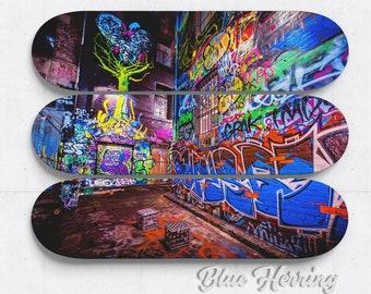 Skateboard Deck Art, Three Piece Wall Art, graffiti mural, street art print, Melbourne Australia, boy room decor, birthday gift, fathers day