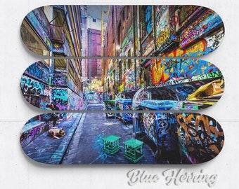 Skateboard Wall Art Mural, Set of three, graffiti print, street art poster, Melbourne Australia, boy room decor, birthday gift, fathers day