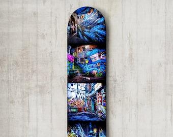Street Art Skateboard Deck Graffiti Wall Art Boys Room Decor Photography Melbourne Photo Unique Gift for Teenager, Blue Black Wall Decor