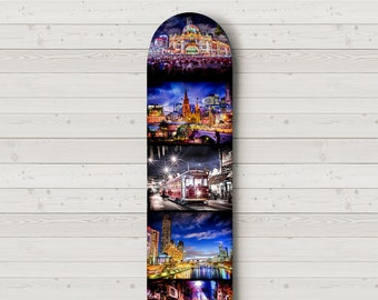Skateboard Decor, Skatedeck Wall Art, Melbourne Australia, Flinders Street, Tram Art, Graffiti Street Art, Travel Decor, Birthday Gift