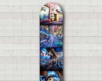 Street Art Graffiti, Skateboard Wall Art, Skate Deck Decor, Melbourne Photograph, Hosier Lane, interior design, travel art, boyfriend gift