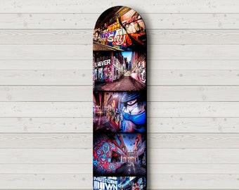 Graffiti Street Art, Skateboard Wall Art, Melbourne Photograph, Skate Deck Decor, Hosier Lane, Apartment Decor, Travel Gift, Boyfriend Gift