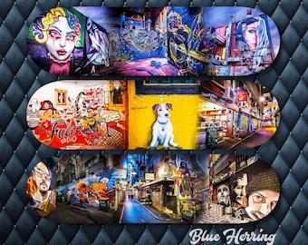 Graffiti Skateboard, Triptych Wall Art, Three Piece Set, Street Art, Melbourne Print, fathers day gift, Teen Girl birthday, artsy decor