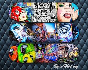 Skateboard Wall Art Trio, Three Piece Wall decor, Street Art Graffiti, teen girl room birthday gift, Blue Herring Design, one of a kind gift