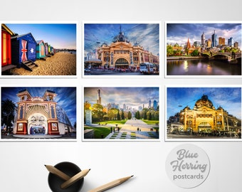 Postcard Melbourne, Pack of Six Prints, Travel Photography, Australia made, small art print, Flinders Street, Brighton Beach, small gifts