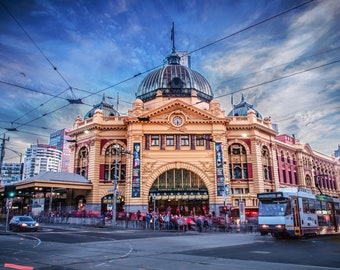 Flinders Street Station, Melbourne Photography, Australia Print, Extra Large Wall Art, Travel Poster, Fathers Day, Wedding Gift for him