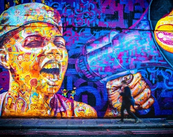 London wall mural, Graffiti Street Art, boy with megaphone, boy room wall decor, birthday gift, poster print, urban wall, purple and yellow