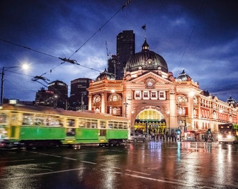 Melbourne print, Flinders Street, lounge decor, Melbourne Australia, green tram, night sky print, wedding gift, wall art, photography prints