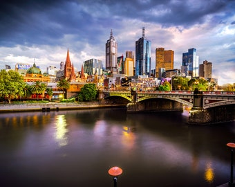 Melbourne Photography, City Sunset, Night Photograph, Melbourne Art, city skyline, Flinders St Station, Australia Wall Art, Wedding Gifts