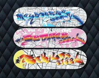 Skateboard Deck Wall Art, Set of Three, Melbourne, Sydney, St Kilda, Street Art Graffiti Font, Map Art Print, Custom Art, Travel Gift