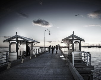 StKilda Pier Photograph Fine Art St.Kilda Black and White Photo Saint Kilda Kiosk Beach 20x30 inch Wedding Gift for Her