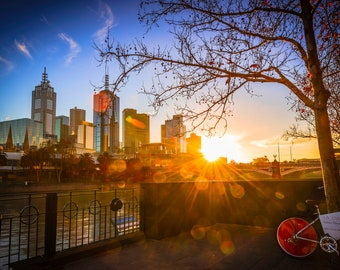Melbourne Photograph, skyline print, sunrise photo, Photography Prints, Melbourne wall Art, cityscape wall art, Wedding Gifts, Yarra River