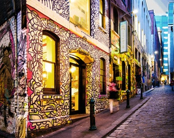 Graffiti Wall Art, Street Art poster, Melbourne Photograph, Hosier Lane Photo, urban print, Australia Travel decor, Boyfriend Gift, new home