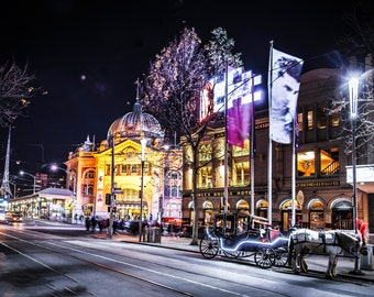 Flinders Street Station, Melbourne Photograph, Australia Prints, night photo, extra large wall art, Travel Poster, Fathers Day Gift for him