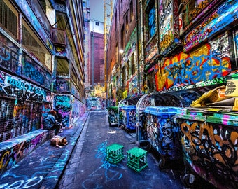 Street Art Wall Art, Graffiti Canvas, Melbourne Print, Colour Street, Hosier Lane, Australia Travel, Boyfriend Gift for him, teen wall decor