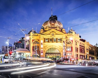 Flinders Street Station, Melbourne Photo, City Sunset Poster, Photography Prints, Melbourne tram, Travel Gift, night sky print, 20x30 poster