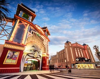 Luna Park Photography StKilda Photo Melbourne Sunset Photograph Boyfriend Present for Him 30x50in Poster Palais Theatre