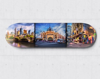 Skateboard Wall Art, Melbourne Photograph, City Wall Decor, skateboard deck, Panoramic Print, Lounge Decor, Travel Gift, Degraves Street