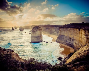 Great Ocean Road, Twelve Apostles, Australia Photograph, Ocean Decor, Beach Print, Sunset Picture, Travel Photo, Boyfriend Girlfriend gift