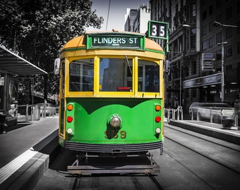 Melbourne Tram, Photography Print, Australia Poster, Flinders Street Station, Green Decor, city photo, vintage tram, travel gift for him
